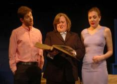 Simon Kendal, Amy Bizjak and Rebecca Nyahay in WHITE BABY at Emerging Artists Theatre. Directed by Ron Bopst