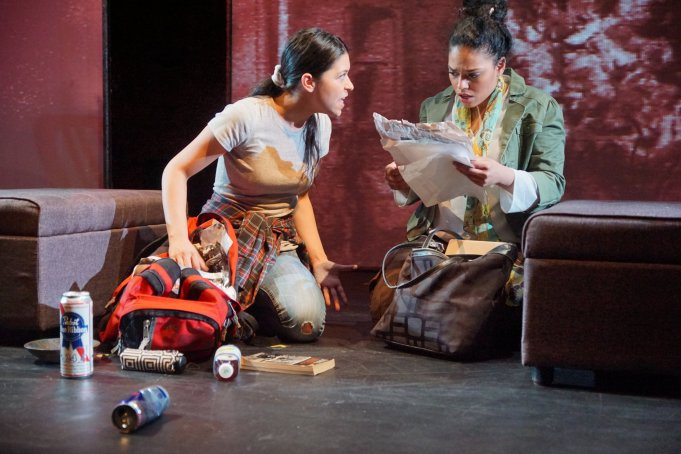 Maria Konstantinidis and Alicia Rivas in FIXED at Passage Theatre. Directed by Maureen Heffernan